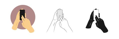 Vector illustrations set man`s hands hold smartphone and touches screen with two fingers. Outline, silhouette and color pictures royalty free illustration