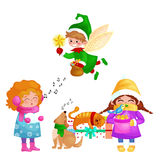 Vector illustrations set Merry Christmas Happy new year, girl sing holiday songs with pets, cat and dog enjoy presents. Illustrations set Merry Christmas Happy stock illustration