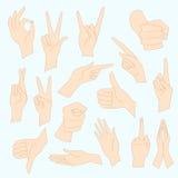 Vector illustrations set of universal gestures of hands. Hands in different interpretations. Stock Photography