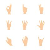 Vector illustrations set of woman hands in various Stock Images