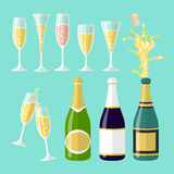 Vector illustrations of several champagne flat celebration. Open bottle. A set of glasses of wine of different shapes. Art Stock Photography