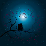 Vector illustrations Silhouette the cat and the tree Royalty Free Stock Images