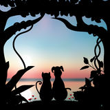 Vector illustrations Silhouette the dog and cat Romantic Stock Photos