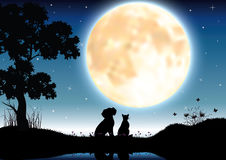 Vector illustrations Silhouette the dog and cat Romantic Stock Photography