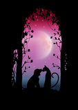 Vector illustrations Silhouette the dog and cat Romantic Royalty Free Stock Image