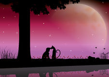 Vector illustrations Silhouette the dog and cat Romantic Royalty Free Stock Photos