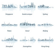 Vector illustrations of Singapore, Kuala Lumpur, Sydney, Tokyo, Seoul, Beijing, Shanghai, Guangzhou and Hong Kong skylines Stock Photography