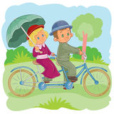 Vector illustrations small children on vintsge bicycles Stock Photo