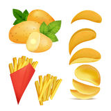 Vector illustrations of snacks or chips. Pictures in cartoon style of fried potato Stock Photos