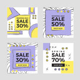 Vector illustrations of square season online shopping website and mobile website banners Royalty Free Stock Photos