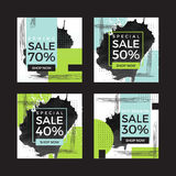 Vector illustrations of square season online shopping website and mobile website banners. Set of summer spring mid season mobile sale banners. Vector Royalty Free Stock Photography