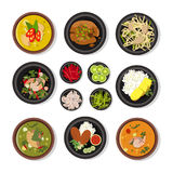 Vector illustrations of thai food. Vector icons pack isolate on white royalty free illustration