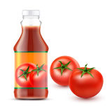 Vector illustrations of transparent bottle with tomato ketchup and two fresh red tomatoes Stock Image