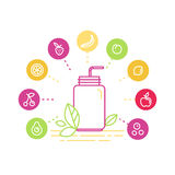 Vector illustrations in trendy linear style - healthy smoothie Stock Photography