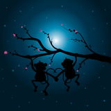 Vector illustrations ,Two monkeys on the tree looking the moon. Royalty Free Stock Photo
