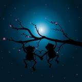 Vector illustrations ,Two monkeys on the tree looking the moon. stock illustration
