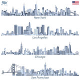 vector illustrations of United States city skylines in tints of blue color palette with map and flag of United States Stock Photos