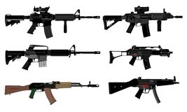 Vector of automatic weapons. Vector illustrations of various types of automatic weapons vector illustration