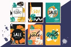 Vector illustrations for web sale and mobile website social media banners, posters, email and newsletter designs, ads, promotional Stock Images