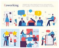 Team teamwork togetherness collaboration concept. Vector illustrations of young adult group of business people meeting, working and talking co working center stock illustration