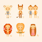 Vector illustrations of zodiac signs. Aries, taurus, gemini, cancer, leo, and virgo Stock Images