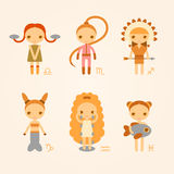 Vector illustrations of zodiac signs. Libra, scorpio, sagittarius, capricorn, aquarius and pisces Royalty Free Stock Photos
