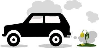Vector Illustrationsautoauspuff, CO2, Rauch lizenzfreies stockfoto