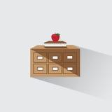 Vector Illustrationsbibliothekskatalog des Buches und des Apfels Stockfoto