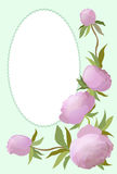 Vector Illustrationsblumengrenze mit Pfingstrose für Einladungen und Glückwunschkarten Stockfotografie