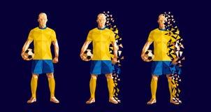 Vector Illustrationsfußball-Fußballspielerniedrig-polyart concep lizenzfreie abbildung