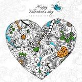 Vector Illustrationsgrußkarte glückliches Valentinstag-Herz zentangl und dudling, zenart Blumen, Blätter erwachsener Stockbild