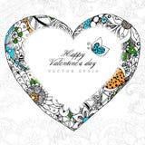 Vector Illustrationsgrußkarte glückliches Valentinstag-Herz zentangl und dudling, zenart Blumen, Blätter erwachsener Stockfotos