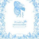 Vector Illustrationshochzeits-Einladung zentangl, Rahmenblume, Ikone, Porträt der Frau, ein Mädchen in der Maske, Gekritzel, zena Stockfoto