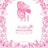 Vector Illustrationshochzeitseinladung zentangle Rahmenblume, Ikone, Porträt der Frau, ein Mädchen in der Maske, Gekritzel, zenar Lizenzfreies Stockbild