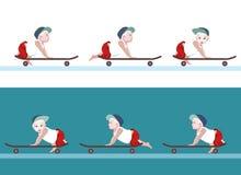 Vector Illustrationsjungenbaby, um Skateboard zu fahren, Grafik zu bewegen Lizenzfreie Stockbilder