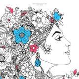Vector Illustrationskarte das Profil eines Mädchens mit Blumen Stockfotografie