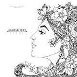 Vector Illustrationskarte das Profilmädchen mit Blumen in ihrem Haar, zentangl, Gekritzel, zenart Schönheit, Mode, Lilie Lizenzfreies Stockfoto