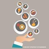 Vector Illustrationskonzept für Geschäftsstrategie und Industrieplanung Ausführliche Geschäfts-Karikatur-Serie lizenzfreie stockfotos