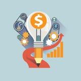 Vector Illustrationskonzept für Geschäftsstrategie und Industrieplanung Einsparungskosten stockfoto