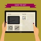 Vector Illustrationskonzept von den Händen, die moderne digitale Tablette halten und auf einen Schirm mit Website zeigen Flache D Stockfotografie