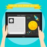 Vector Illustrationskonzept von den Händen, die modernes digitales tabl halten Lizenzfreie Stockfotografie