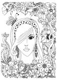 Vector Illustrationsmädchen mit asiatischem zentangle Biene inher Haar Gekritzelrahmenblumen Zenart-antidruck Erwachsener Farbton Stockbilder