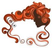 vector Illustrationsrahmen mit Gesicht des gelockten Haares und einer Frau auf einem weißen Hintergrund Stockbild
