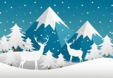 Vector Illustrationswinterlandschaft mit Wald, Rotwild, Berge in der flachen Art lizenzfreie abbildung