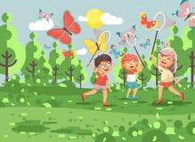 Vector Illustrationszeichentrickfilm-figur-Kinder, junge Naturwissenschaftler, Biologenjungen und bunte Schmetterlinge des Mädche lizenzfreie abbildung