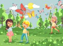 Vector Illustrationszeichentrickfilm-figur-Kinder, junge Naturwissenschaftler, Biologenjungen und bunte Schmetterlinge des Mädche stock abbildung