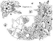 Vector Illustrationszen tangl Fuchsschlaf in den Blumen Stockfotos