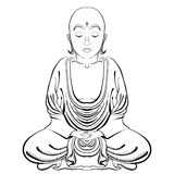 Vector Illustratioon of hand drawn Buddha on a white background. Royalty Free Stock Images