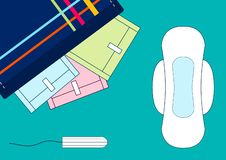 Vector illustratoin of tampons and menstruation sanitary soft pads in a kit. Woman critical days, menstrual cycle. A beautician wi. Th cotton pads. Travel royalty free illustration