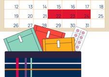 Vector illustratoin van kalender, menstruatie sanitaire zachte stootkussens in uitrusting Vrouwen kritieke dagen, menstruele cycl royalty-vrije illustratie